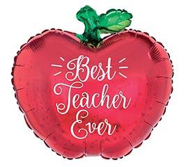 "18"" PKG BEST TEACHER EVER APPLE BALLOON"