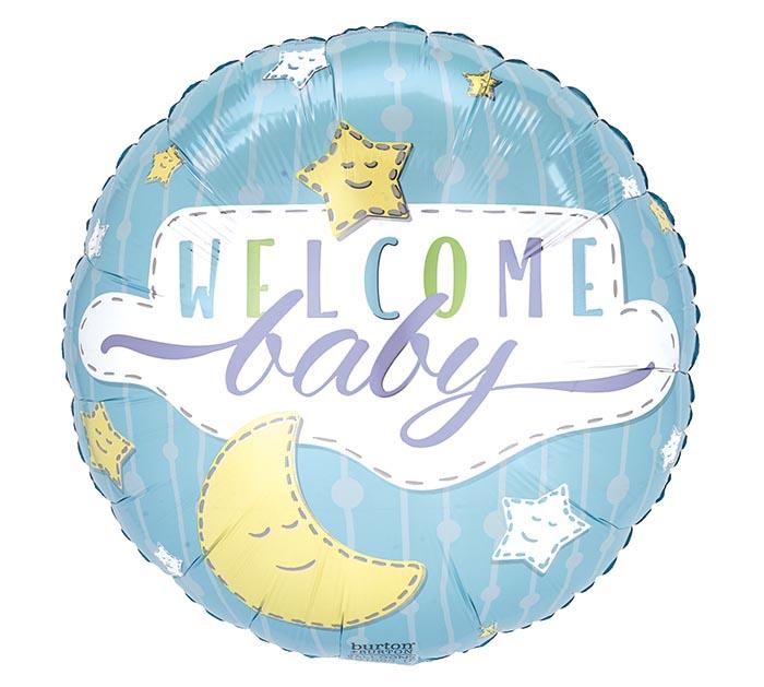 "17""PKG BABY WELCOME BABY BOY STARS MOON"