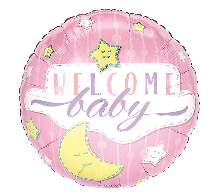 "17""PKG BABY WELCOME BABY GIRL STARS MOON"