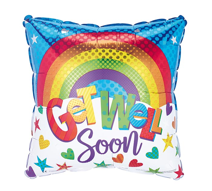 "17"" PKG GET WELL RAINBOW SQUARE BALLOON"
