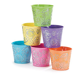 EMBOSSED SPRING TIN POT COVERS