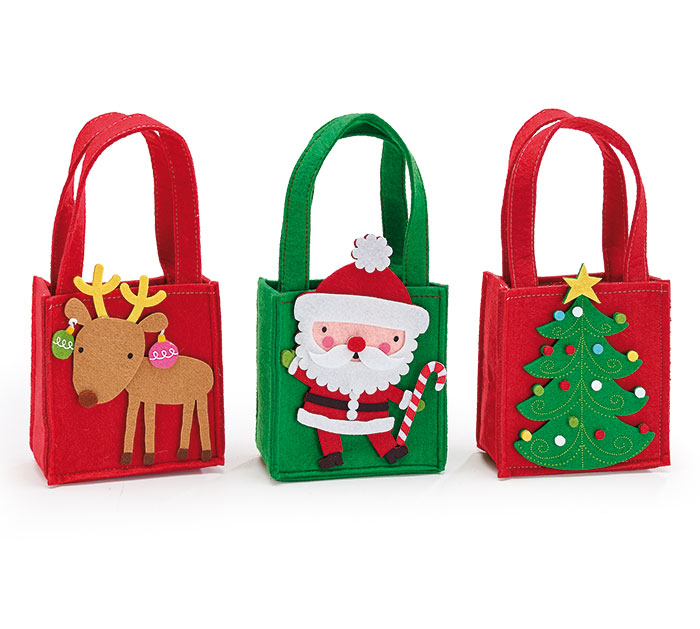 CHRISTMAS ASSORTED DESIGN FELT BAGS
