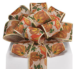 #16 PUMPKIN NATURAL LINEN WIRED RIBBON