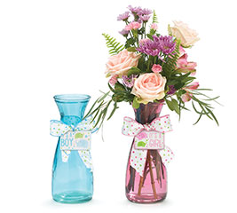 KIT BLUE/PINK GLASS VASE MSG BLINGERS