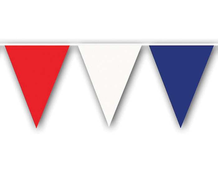 BANNER RED WHITE AND BLUE PENNANTS