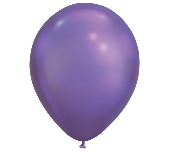 "11"" QUALATEX CHROME PURPLE 25CT"